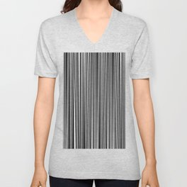 Simply small black and white handrawn stripes - vertical - Mix & Match with Simplicty of life Unisex V-Neck