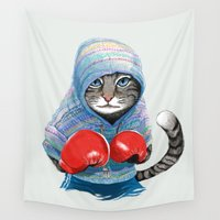 jazzberry Wall Tapestries featuring Boxing Cat by Tummeow