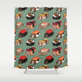 Sushi  Basset Hound Shower Curtain