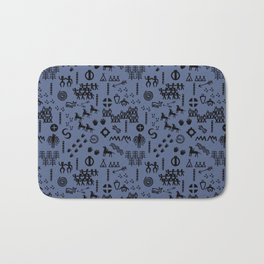 Peoples Story - Black on Blue Bath Mat