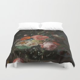 Rachel Ruysch - Still life with flowers on a marble tabletop (1716) Duvet Cover