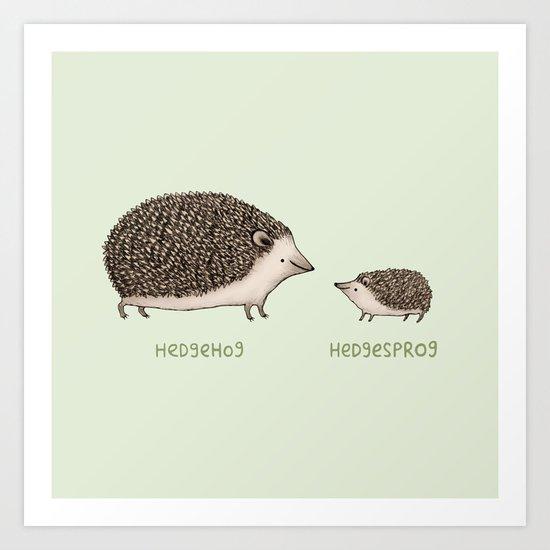 Hedgehog Hedgesprog Art Print