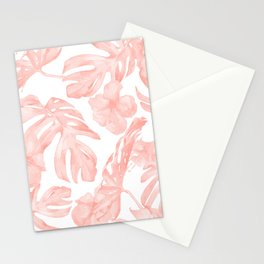 Tropical Palm Leaves Hibiscus Flowers Coral Pink Stationery Cards