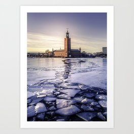 Stockholm City Hall in Winter Art Print