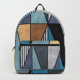 Colorful Concrete Triangles - Blue, Grey, Brown Backpack