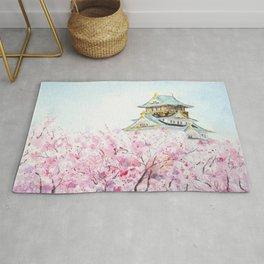 Japan Osaka castle and sakura watercolor painting  Rug