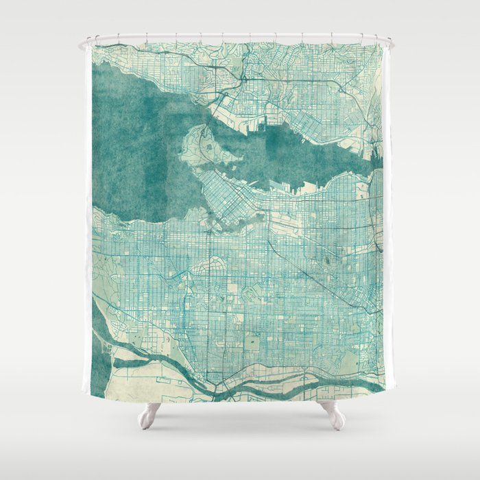 Vancouver Map Blue Vintage Shower Curtain by hubertroguski | Society6