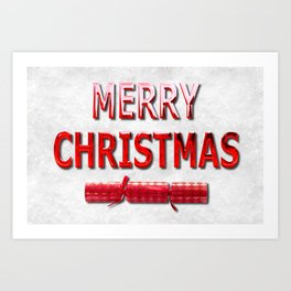 Merry Christmas With Red Cracker in Snow Art Print