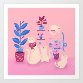 Grumpy mom and mischievous kittens Art Print