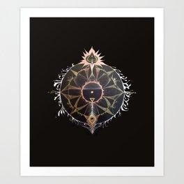 Saraswati Mandala Black Art Print