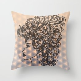 Dreams & Sky Cubes in Peach, Lavender, Charcoal  Throw Pillow