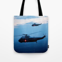 Support Helicopters Fly at Dusk Tote Bag