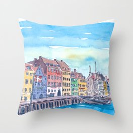 Copenhagen Nyhavn Waterfront Scene in Denmark Throw Pillow