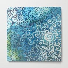 Swirly Deep Blue Sea Metal Print