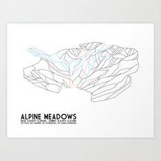 Alpine Meadows, CA - Minimalist Trail Art Art Print