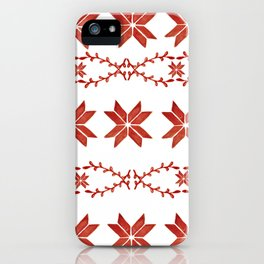 Scandinavian inspired print with red mini stars iPhone Case