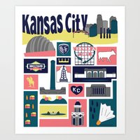 kansas city Art Prints featuring Kansas City by cwassmer