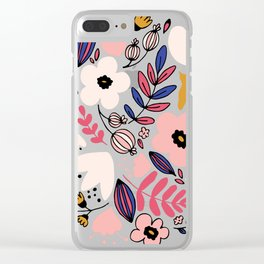 Fantasy flowers on blue Clear iPhone Case