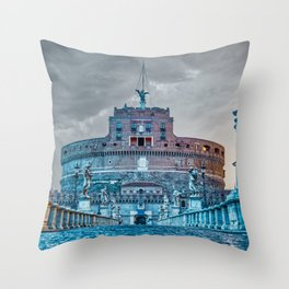 Sunrise over Ponte Sant'Angelo and Castel Sant'Angelo in Rome, Italy Throw Pillow