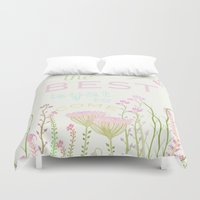 be happy Duvet Covers featuring HaPPy by Monika Strigel