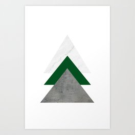 Marble Green Concrete Arrows Collage Art Print