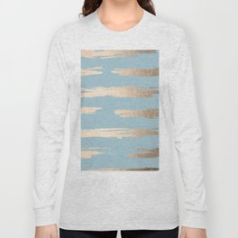 Abstract Paint Stripes Gold Tropical Ocean Sea Blue Long Sleeve T-shirt