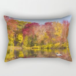 Autumn Pond With Mallard Duck Rectangular Pillow