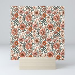 70s flowers - 70s, retro, spring, floral, florals, floral pattern, retro flowers, boho, hippie, earthy, muted Mini Art Print