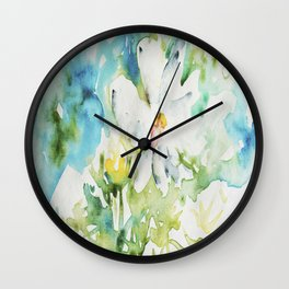 White Daisy Doodle watercolor by CheyAnne Sexton Wall Clock