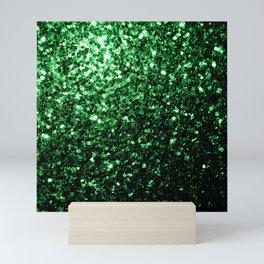 Glamour Dark Green glitter sparkles Mini Art Print