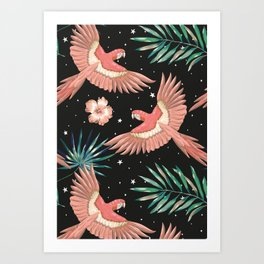 Pink macaw parrots on the starry night sky Art Print