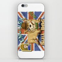 english bulldog iPhone & iPod Skins featuring English Bulldog by Brian Raszka Art & Illustration