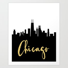 CHICAGO ILLINOIS DESIGNER SILHOUETTE SKYLINE ART Art Print