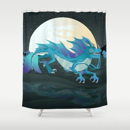 sea water chinese dragon Shower Curtain