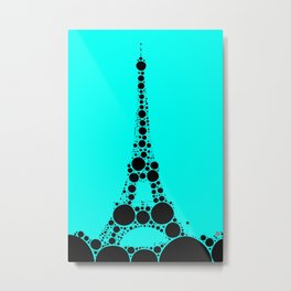 """Eiffel Tower Light Blue Background - from """"Further Back"""" series Metal Print"""