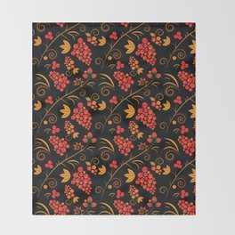 Traditional russian khokhloma print with berries and floral motives Throw Blanket