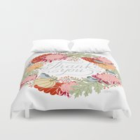 thanksgiving Duvet Covers featuring Thanksgiving thank you card by Yuliya