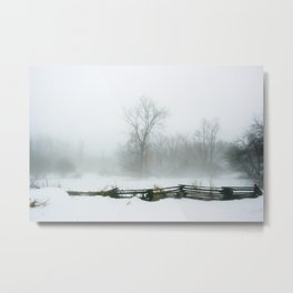 Through the Winter snow and  mist Metal Print