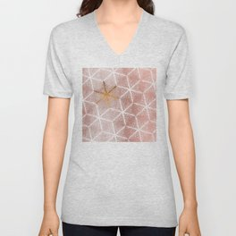 Elegant Geometric Gold Snowflakes Holiday Pattern Unisex V-Neck