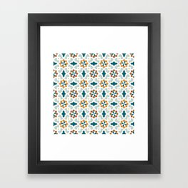 Geometric Pattern, oriental style (nature color set)  traditional morocco tile pattern Framed Art Print