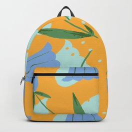My blue flower - Gouache painted Backpack