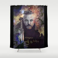 vikings Shower Curtains featuring Ragnar in the Stars - Vikings by RsDesigns