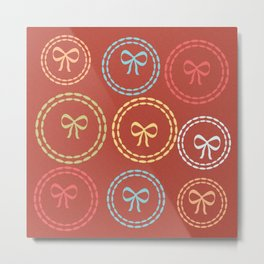 Bright Red Bows Pattern Metal Print