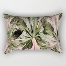 Large green leaves on a pink background - beautiful colors #decor #society6 #buyart Rectangular Pillow