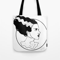 bride Tote Bags featuring Bride by Albino Bunny