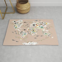 Cartoon world map for children, kids, Animals from all over the world, back to school, rosybrown Rug
