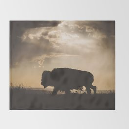 Bison in the Storm - Badlands National Park Throw Blanket