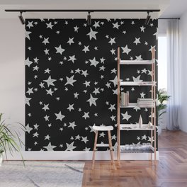 Linocut black and white stars outer space astronauts minimal Wall Mural