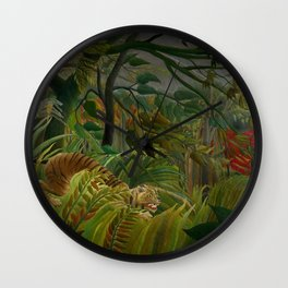Henri Rousseau - Tiger in a Tropical Storm - Surprised! Wall Clock