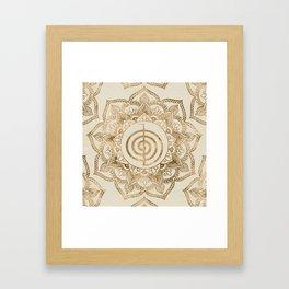 Cho Ku Rei - pastel gold lotus mandala Framed Art Print
